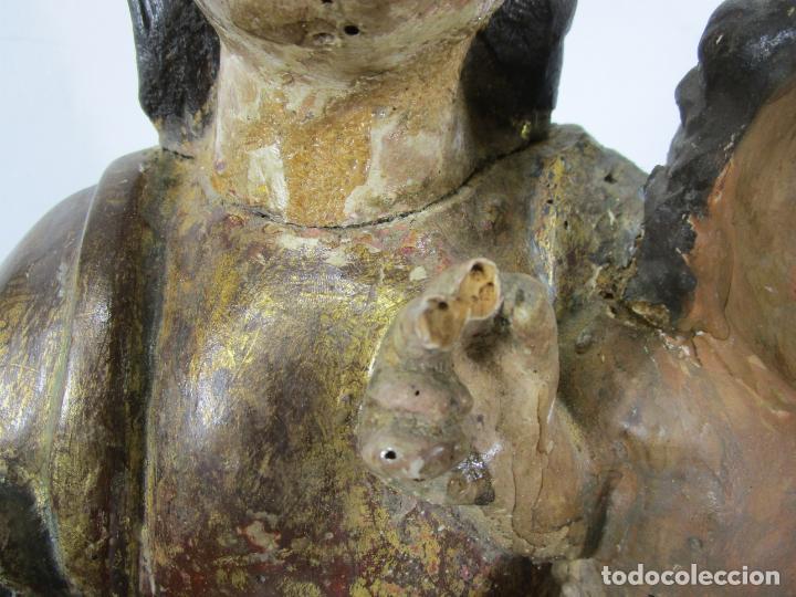 Arte: Antigua Virgen del Pilar - Talla de Madera Policromada - con Paloma - 57 cm Altura - S. XVII-XVIII - Foto 9 - 221333597