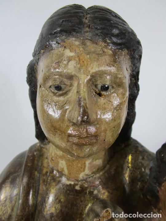 Arte: Antigua Virgen del Pilar - Talla de Madera Policromada - con Paloma - 57 cm Altura - S. XVII-XVIII - Foto 10 - 221333597
