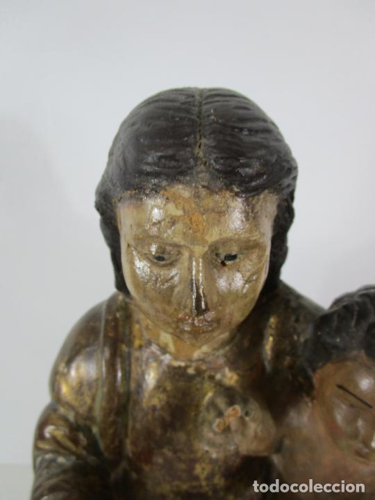 Arte: Antigua Virgen del Pilar - Talla de Madera Policromada - con Paloma - 57 cm Altura - S. XVII-XVIII - Foto 11 - 221333597