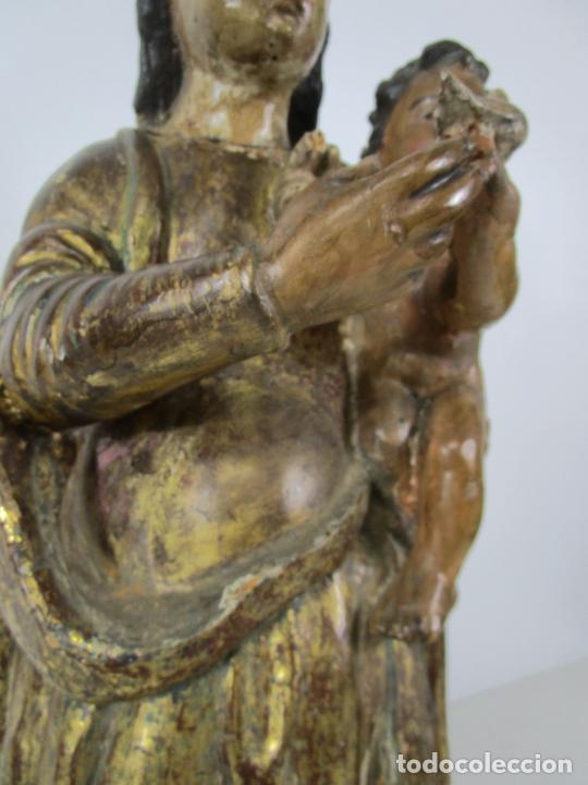 Arte: Antigua Virgen del Pilar - Talla de Madera Policromada - con Paloma - 57 cm Altura - S. XVII-XVIII - Foto 12 - 221333597