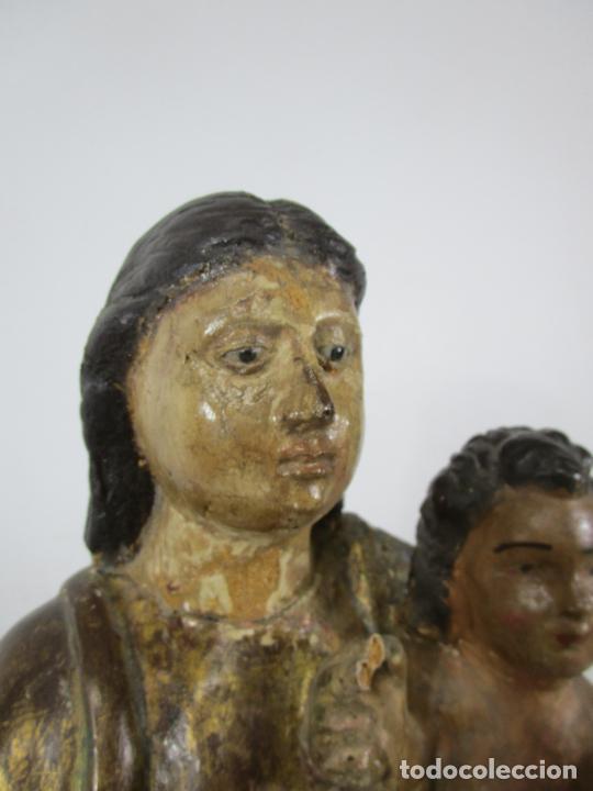 Arte: Antigua Virgen del Pilar - Talla de Madera Policromada - con Paloma - 57 cm Altura - S. XVII-XVIII - Foto 13 - 221333597