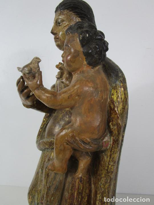 Arte: Antigua Virgen del Pilar - Talla de Madera Policromada - con Paloma - 57 cm Altura - S. XVII-XVIII - Foto 17 - 221333597