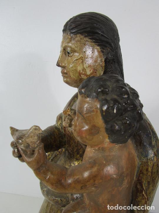 Arte: Antigua Virgen del Pilar - Talla de Madera Policromada - con Paloma - 57 cm Altura - S. XVII-XVIII - Foto 18 - 221333597