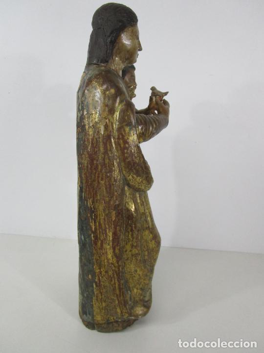 Arte: Antigua Virgen del Pilar - Talla de Madera Policromada - con Paloma - 57 cm Altura - S. XVII-XVIII - Foto 25 - 221333597