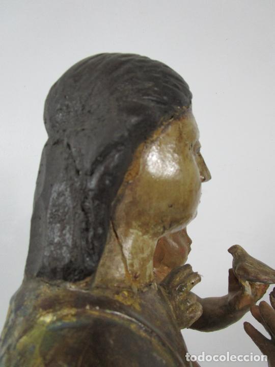 Arte: Antigua Virgen del Pilar - Talla de Madera Policromada - con Paloma - 57 cm Altura - S. XVII-XVIII - Foto 28 - 221333597