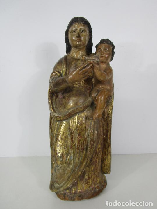 ANTIGUA VIRGEN DEL PILAR - TALLA DE MADERA POLICROMADA - CON PALOMA - 57 CM ALTURA - S. XVII-XVIII (Arte - Arte Religioso - Escultura)