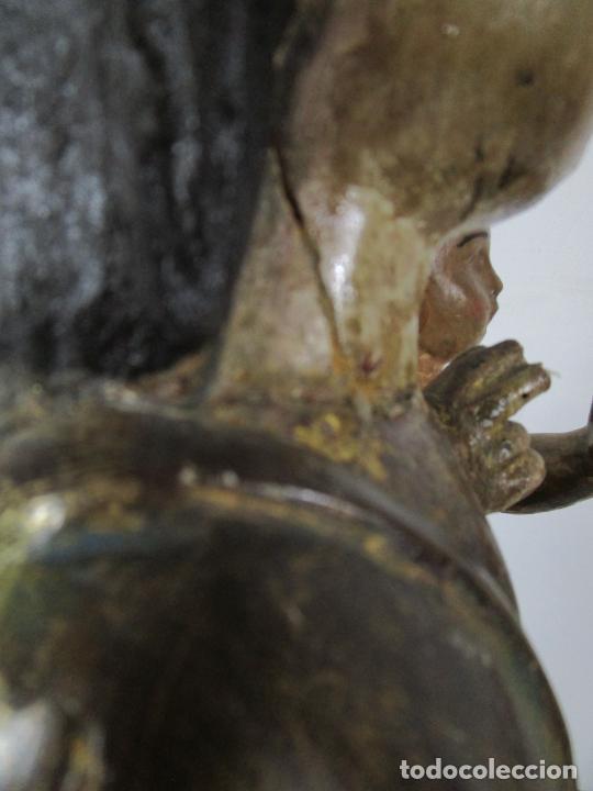 Arte: Antigua Virgen del Pilar - Talla de Madera Policromada - con Paloma - 57 cm Altura - S. XVII-XVIII - Foto 29 - 221333597