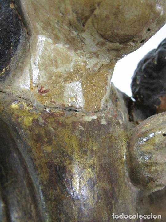 Arte: Antigua Virgen del Pilar - Talla de Madera Policromada - con Paloma - 57 cm Altura - S. XVII-XVIII - Foto 30 - 221333597