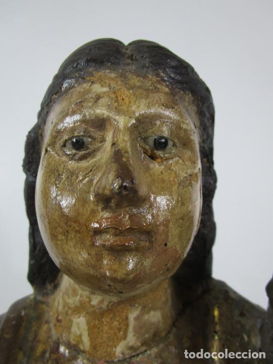 Arte: Antigua Virgen del Pilar - Talla de Madera Policromada - con Paloma - 57 cm Altura - S. XVII-XVIII - Foto 31 - 221333597
