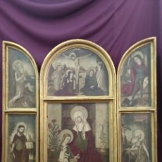 Arte: PRECIOSO RETABLO TRÍPTICO RELIGIOSO, EN MADERA, 83CM X 82CM, ESTILO RENACENTISTA. Lote 221452395