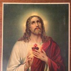 Arte: LITOGRAFÍA EL SAGRADO CORAZÓN DE JESÚS K.F.Z PRINTED IN SWITZERLAND - 43,5X33CM. Lote 221504955