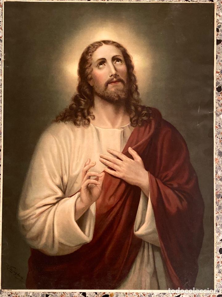LITOGRAFÍA KFZ PRINTED IN SWITZERLAND SAGRADO CORAZÓN DE JESÚS (Arte - Arte Religioso - Litografías)