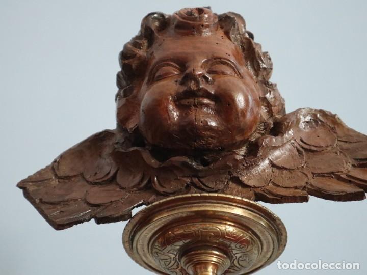 Arte: Ángel alado elaborado en madera tallada en su color. S. XVIII. Medidas de 32 x 17 cm. - Foto 3 - 221514032