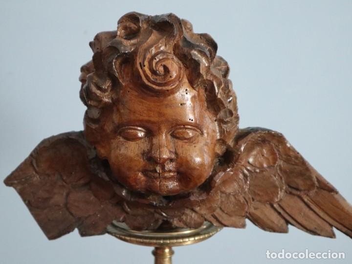 Arte: Ángel alado elaborado en madera tallada en su color. S. XVIII. Medidas de 32 x 17 cm. - Foto 4 - 221514032