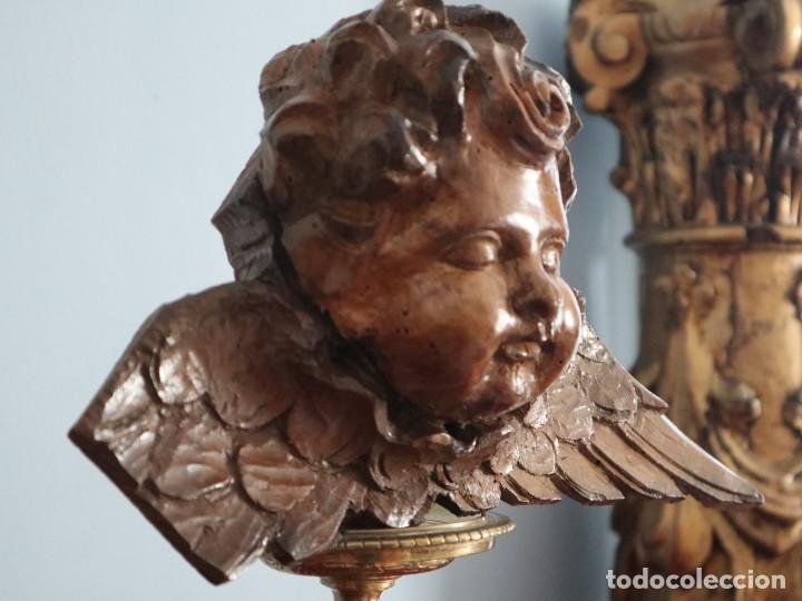 Arte: Ángel alado elaborado en madera tallada en su color. S. XVIII. Medidas de 32 x 17 cm. - Foto 6 - 221514032