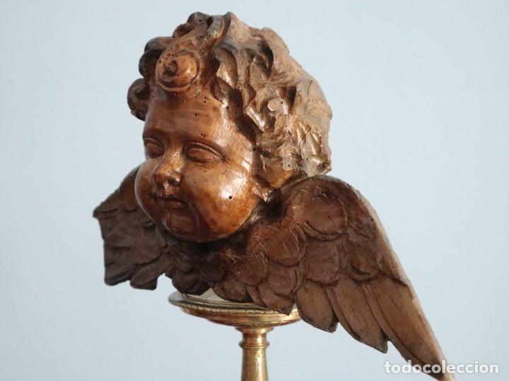 Arte: Ángel alado elaborado en madera tallada en su color. S. XVIII. Medidas de 32 x 17 cm. - Foto 7 - 221514032