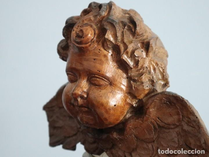 Arte: Ángel alado elaborado en madera tallada en su color. S. XVIII. Medidas de 32 x 17 cm. - Foto 8 - 221514032