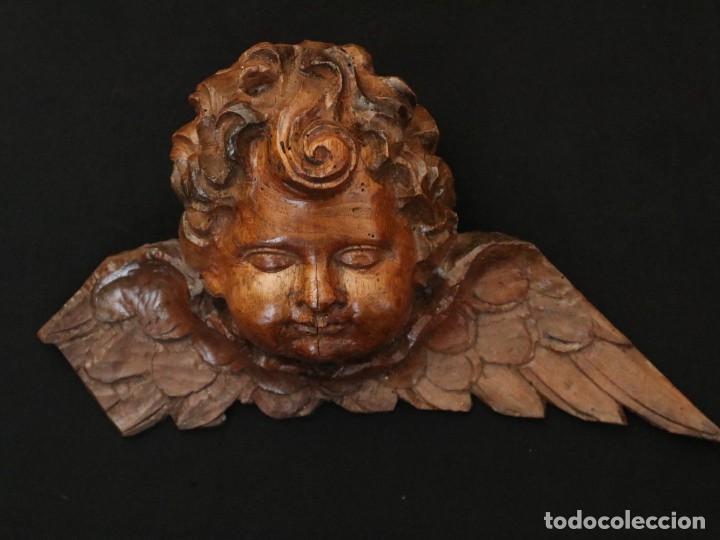 Arte: Ángel alado elaborado en madera tallada en su color. S. XVIII. Medidas de 32 x 17 cm. - Foto 9 - 221514032