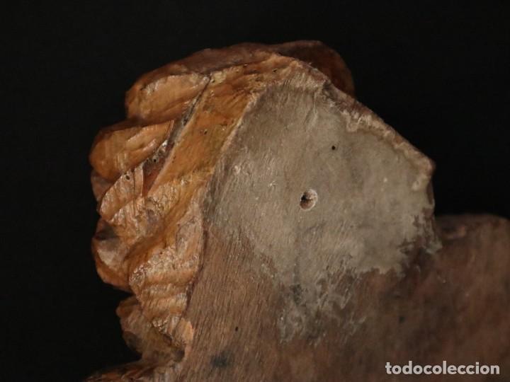 Arte: Ángel alado elaborado en madera tallada en su color. S. XVIII. Medidas de 32 x 17 cm. - Foto 14 - 221514032