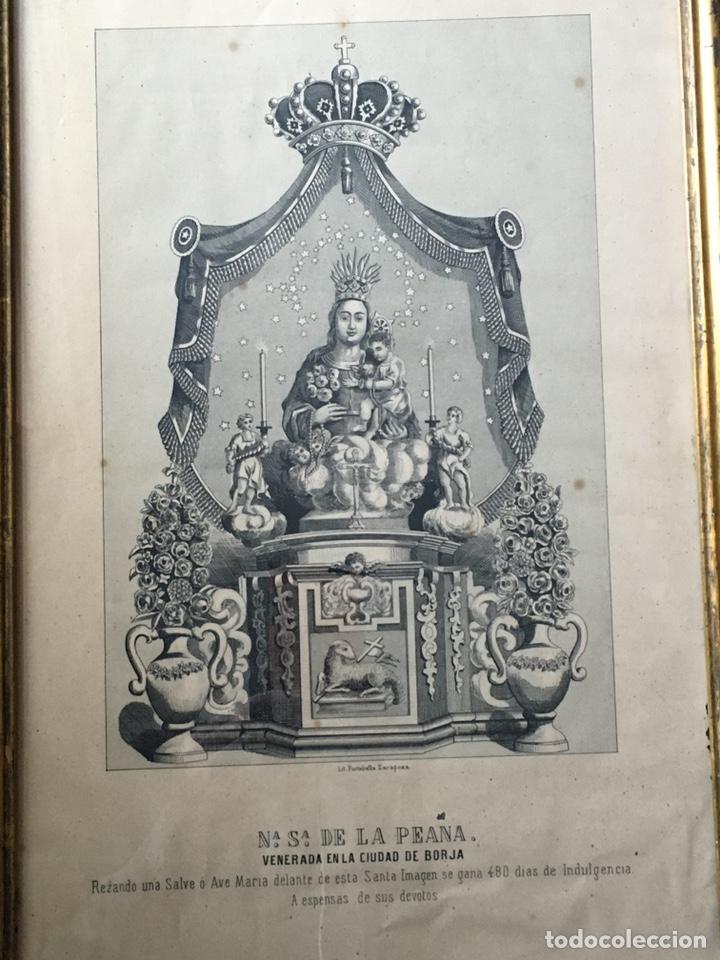 Arte: ANTIGUA LITOGRAFIA DE NUESTRA SEÑORA DE LA PEANA - BORJA - ZARAGOZA - CON MARCO DE MADERA - Foto 2 - 221525592