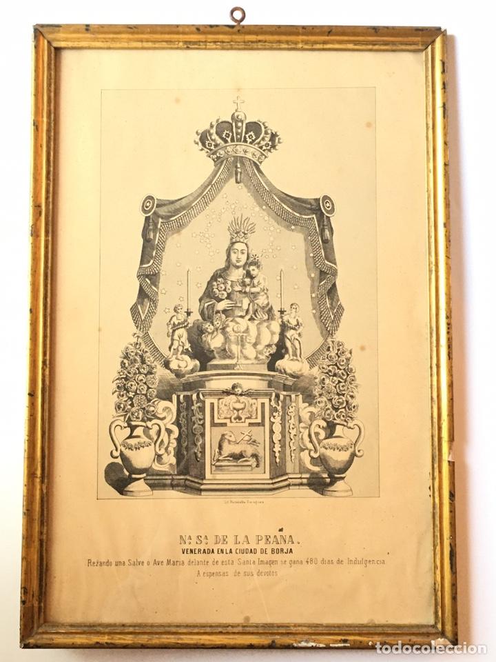 ANTIGUA LITOGRAFIA DE NUESTRA SEÑORA DE LA PEANA - BORJA - ZARAGOZA - CON MARCO DE MADERA (Arte - Arte Religioso - Litografías)