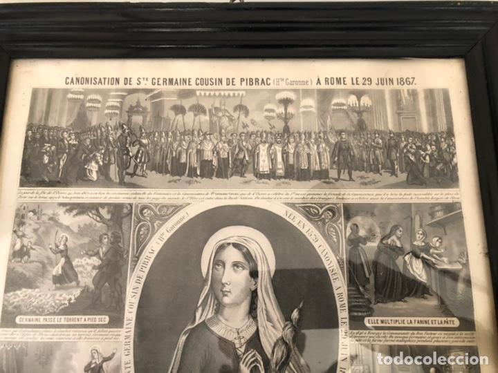 Arte: GRABADO RELIGIOSO DE EL MILAGRO DE LAS FLORES ANTIGUO. 1867 - Foto 2 - 221541867