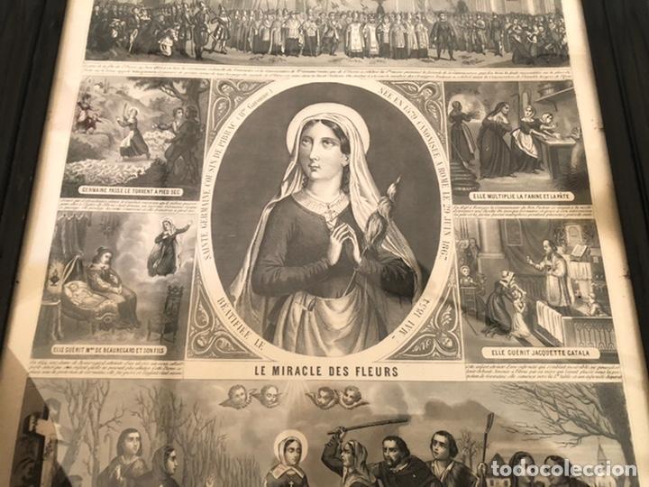 Arte: GRABADO RELIGIOSO DE EL MILAGRO DE LAS FLORES ANTIGUO. 1867 - Foto 3 - 221541867