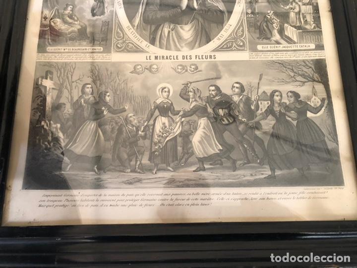 Arte: GRABADO RELIGIOSO DE EL MILAGRO DE LAS FLORES ANTIGUO. 1867 - Foto 4 - 221541867