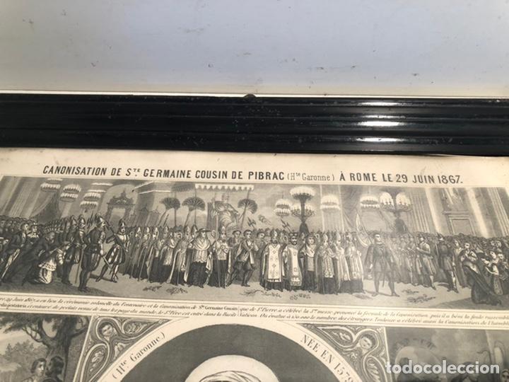 Arte: GRABADO RELIGIOSO DE EL MILAGRO DE LAS FLORES ANTIGUO. 1867 - Foto 6 - 221541867