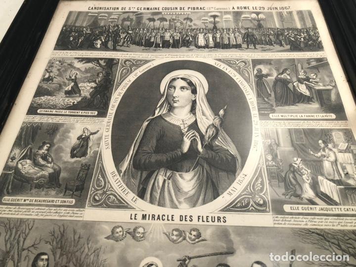 Arte: GRABADO RELIGIOSO DE EL MILAGRO DE LAS FLORES ANTIGUO. 1867 - Foto 7 - 221541867