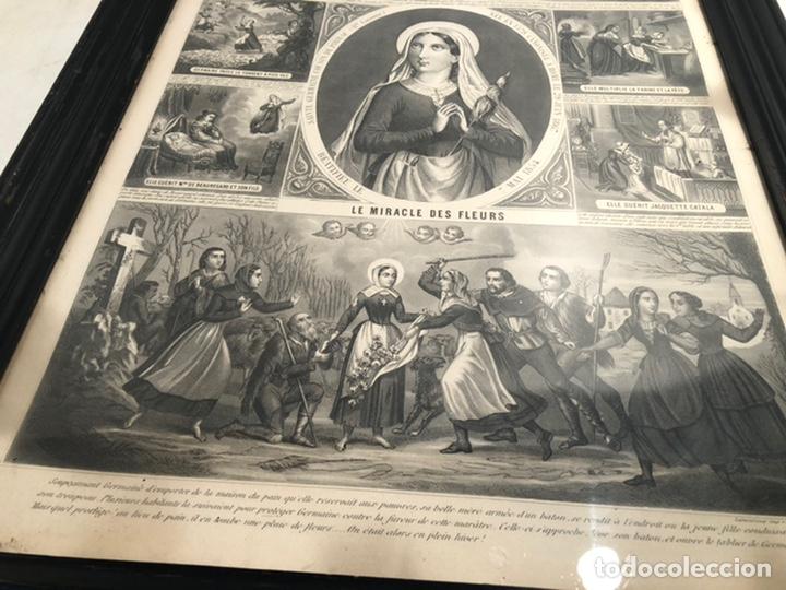 Arte: GRABADO RELIGIOSO DE EL MILAGRO DE LAS FLORES ANTIGUO. 1867 - Foto 8 - 221541867