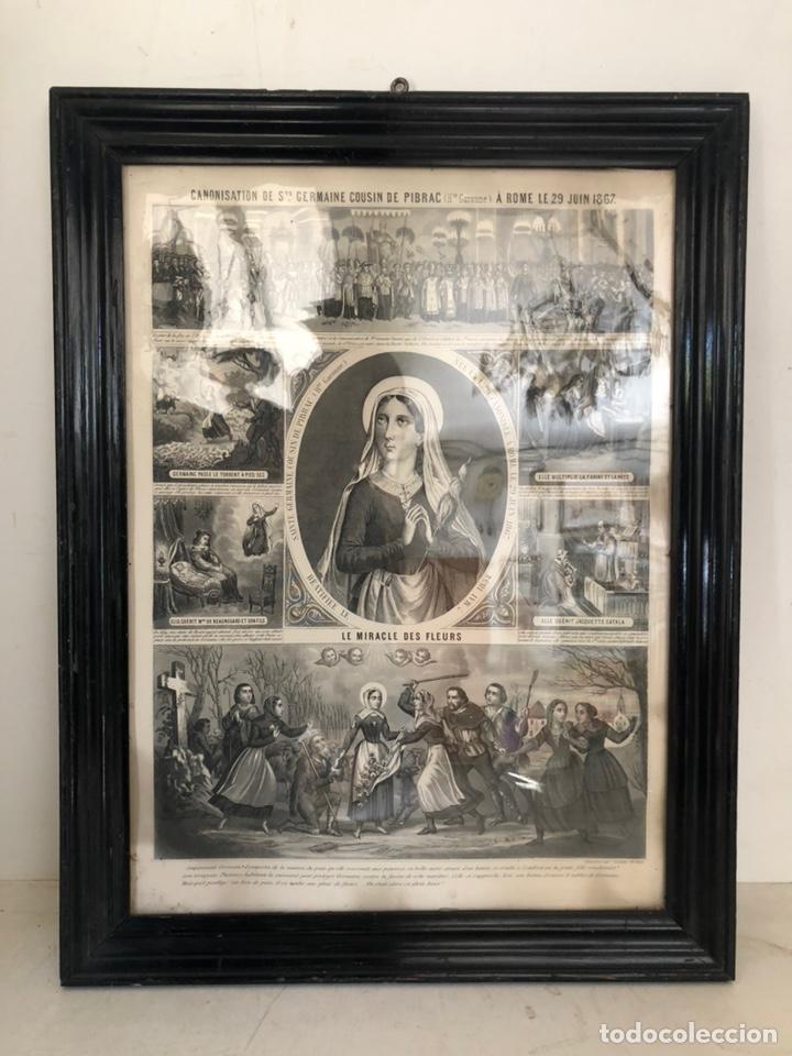 GRABADO RELIGIOSO DE EL MILAGRO DE LAS FLORES ANTIGUO. 1867 (Arte - Arte Religioso - Grabados)