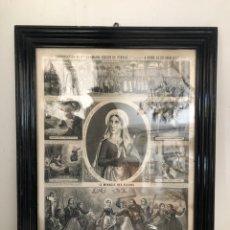 Arte: GRABADO RELIGIOSO DE EL MILAGRO DE LAS FLORES ANTIGUO. 1867. Lote 221541867