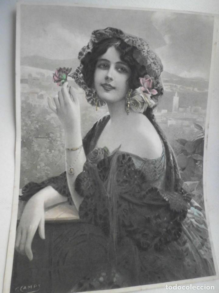 Arte: Antigua litografía de dama - Foto 2 - 221601756
