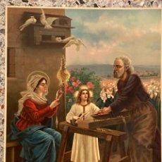 Arte: LITOGRAFÍA ANTIGUA SANTA FAMILIA PRINTED IN SWITZERLAND KFZ 52X39,5CM. Lote 221609077