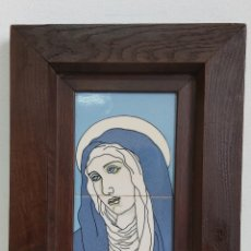Arte: VIRGEN DE LA DOLOROSA PORCELANA CON MARCO DE MADERA. Lote 221612885