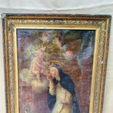 Arte: ANTIGUO OLEO EN MARCO DE PAN DE ORO REPRESENTANDO A LA VIRGEN CON QUERUBINES. Lote 221613202