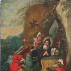 Arte: LA TENTACIÓN DE SAN ANTONIO. CÍRCULO DE PIETER BRUEGHEL EL JOVEN. Ó/COBRE. 23 X 18 CM PPS. S. XVII.. Lote 221617911