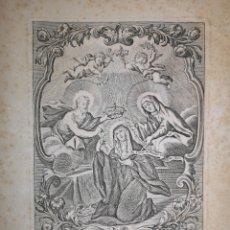 Arte: SANTA GESTRUDIS LA MAGNA - GRABADO - AÑO 1739 - 27.50 X 20. 50 CM - IMAGEN - 20.50 X 14.50 CM. Lote 221771637