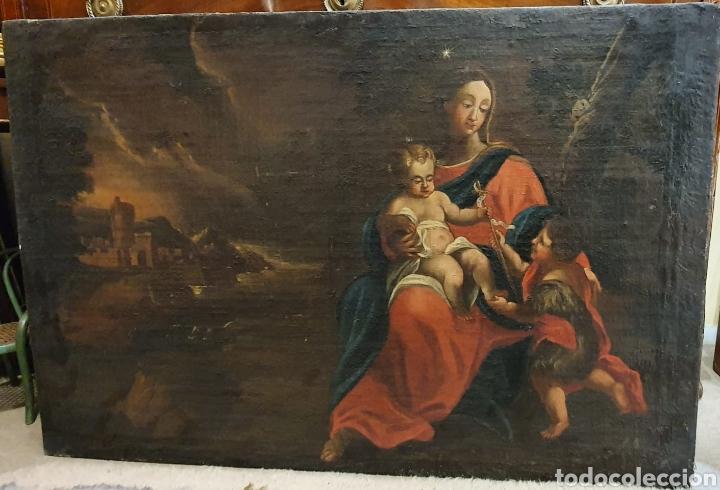 Arte: Oleo Sobre Lienzo del Siglo XVIII Virgen Niño y San Juanito - Marqués de Almunia - Foto 7 - 46527392