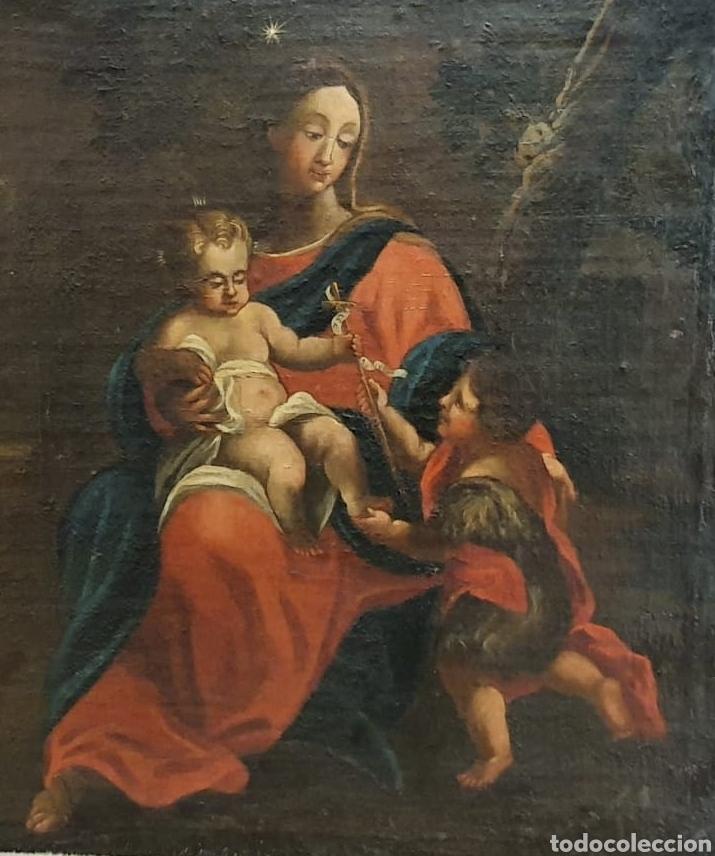 Arte: Oleo Sobre Lienzo del Siglo XVIII Virgen Niño y San Juanito - Marqués de Almunia - Foto 8 - 46527392