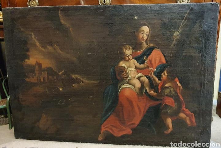Arte: Oleo Sobre Lienzo del Siglo XVIII Virgen Niño y San Juanito - Marqués de Almunia - Foto 12 - 46527392