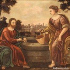 Arte: ANTIGUA PINTURA ITALIANA JESÚS Y LA SAMARITANA EN EL POZO DEL SIGLO XVIII.. Lote 221870798