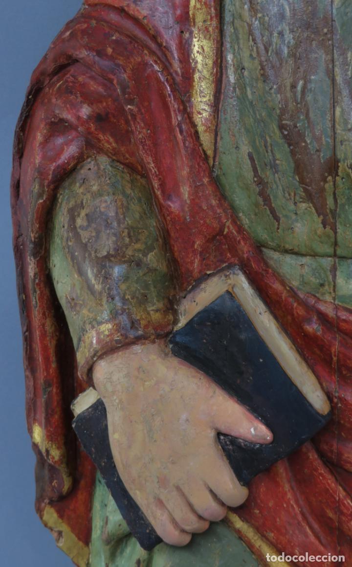 Arte: Talla de medio bulto o chuleta San Juan Evangelista madera tallada dorada y policromada XVI XVII - Foto 5 - 221922775