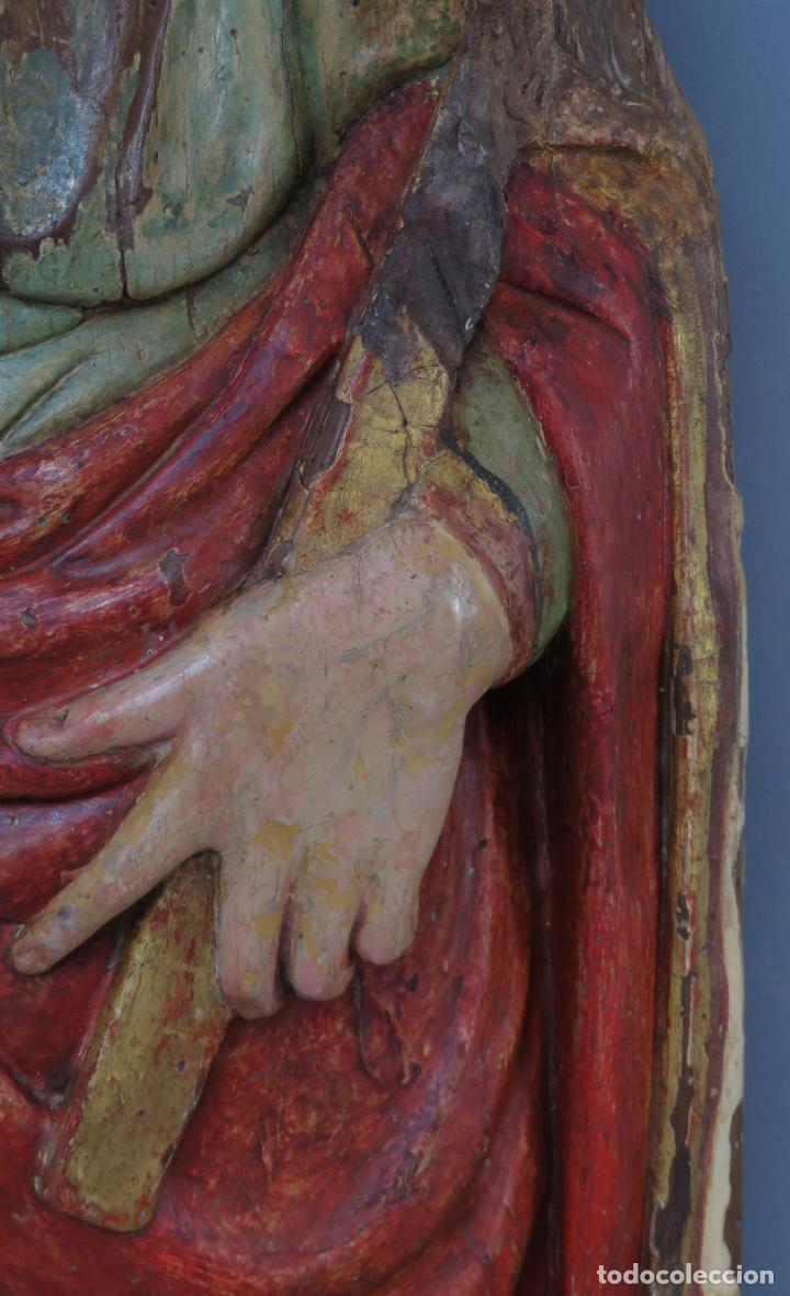 Arte: Talla de medio bulto o chuleta San Juan Evangelista madera tallada dorada y policromada XVI XVII - Foto 6 - 221922775