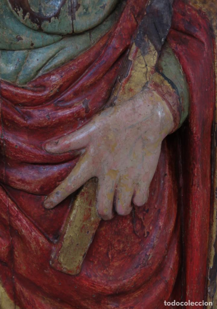 Arte: Talla de medio bulto o chuleta San Juan Evangelista madera tallada dorada y policromada XVI XVII - Foto 7 - 221922775