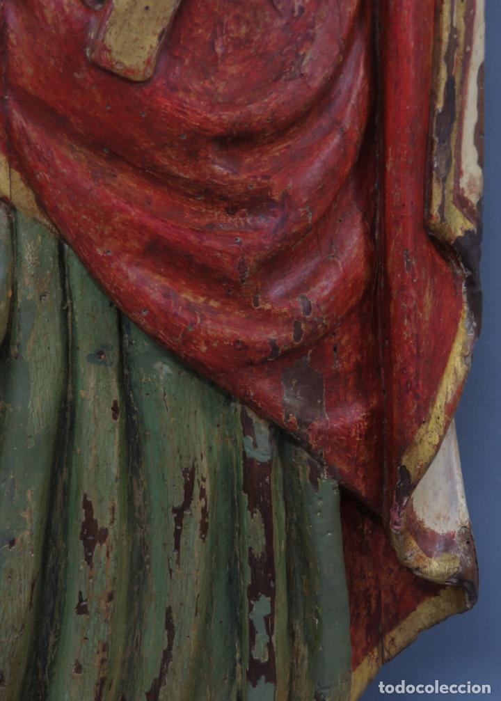 Arte: Talla de medio bulto o chuleta San Juan Evangelista madera tallada dorada y policromada XVI XVII - Foto 9 - 221922775