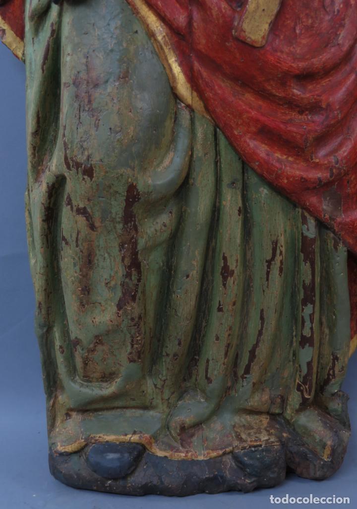 Arte: Talla de medio bulto o chuleta San Juan Evangelista madera tallada dorada y policromada XVI XVII - Foto 10 - 221922775