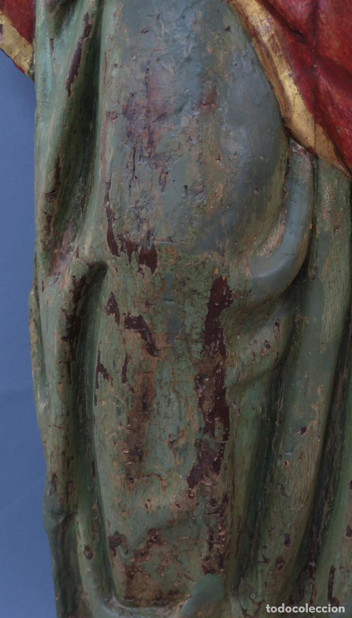 Arte: Talla de medio bulto o chuleta San Juan Evangelista madera tallada dorada y policromada XVI XVII - Foto 11 - 221922775