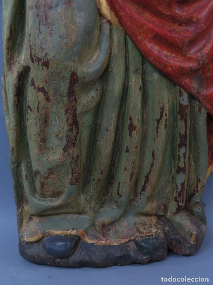 Arte: Talla de medio bulto o chuleta San Juan Evangelista madera tallada dorada y policromada XVI XVII - Foto 12 - 221922775